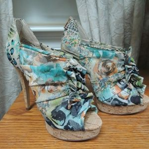 Chinese Laundry floral ruffle open toe heels